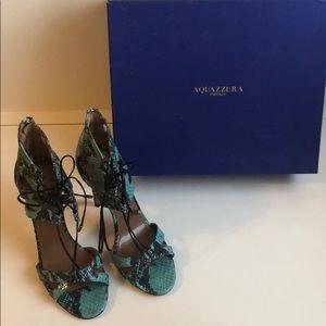 Aquazzura turquoise lace up python Stilettos